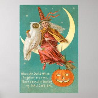 Croissant de lune Jack-o'-lantern de hibou de sorc Poster