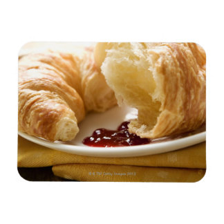 Croissant with jam on a plate rectangular photo magnet