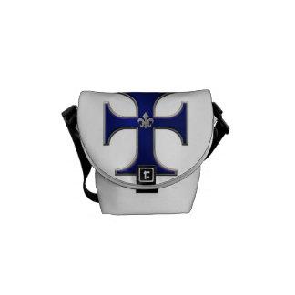 Croix avec le fleur-De-lis - bleu Besace