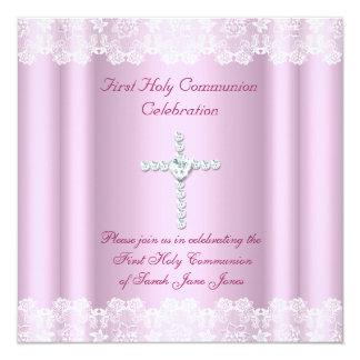 Croix blanche de rose de dentelle de première carton d'invitation  13,33 cm