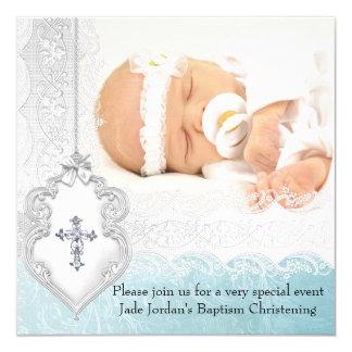 Croix blanche turquoise de photo de dentelle de carton d'invitation  13,33 cm