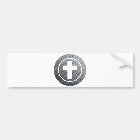 Croix dans cercle Métal Bumper Sticker