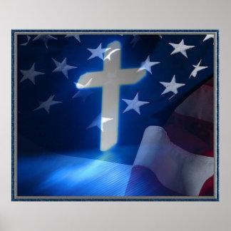 Croix de drapeau américain et de chrétien, fascism poster