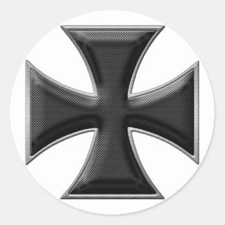 Croix de fer de fibre de carbone - noir sticker rond