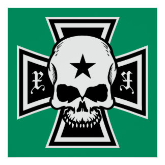 Croix de fer et affiche de crâne [vert]