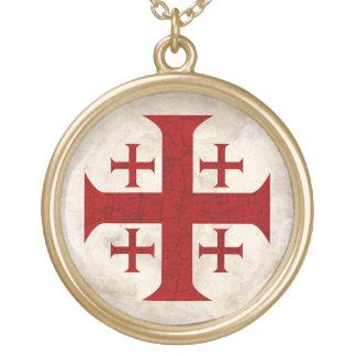 Croix de Jérusalem, affligée Pendentif Rond