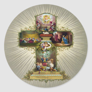 Croix de Pâques Sticker Rond