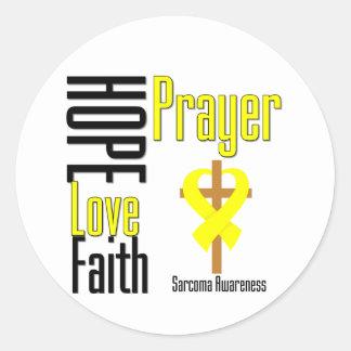 Croix de prière de foi d'amour d'espoir de sarcome sticker rond