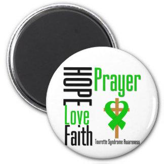 Croix de prière de foi d'amour d'espoir de syndrom magnet rond 8 cm