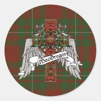 Croix de tartan de MacGregor Autocollant Rond