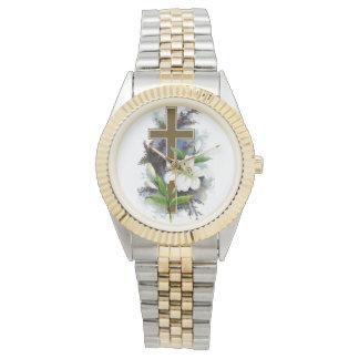 Croix d'or avec la fleur blanche montres bracelet