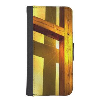 Croix d'or coques avec portefeuille pour iPhone 5