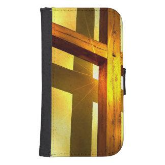 Croix d'or coque avec portefeuille pour galaxy s4
