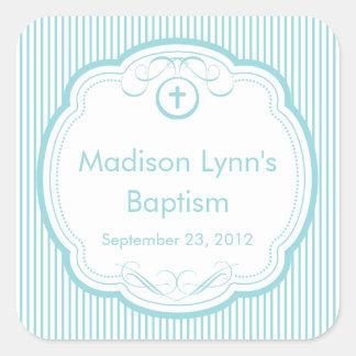 Croix douce dans le joint de faveur de baptême de autocollant carré