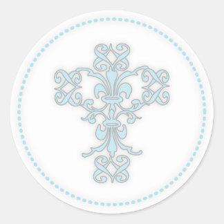 Croix élégante dans le bleu adhésifs ronds