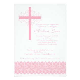 Croix élégante de baptême du baptême   de dentelle carton d'invitation  12,7 cm x 17,78 cm