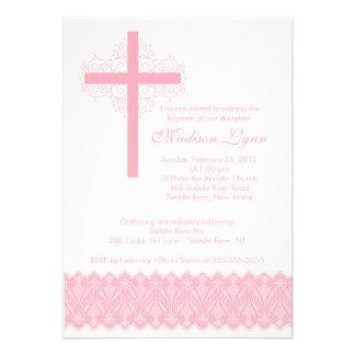 Croix élégante de baptême du baptême de dentelle invitations personnalisées