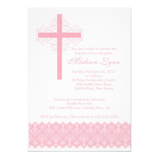 Croix élégante de baptême du baptême | de dentelle invitations personnalisées