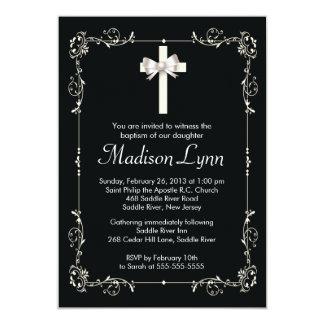 Croix élégante de baptême élégant du baptême | invitations personnalisées