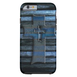 Croix en bois bleue coque iPhone 6 tough