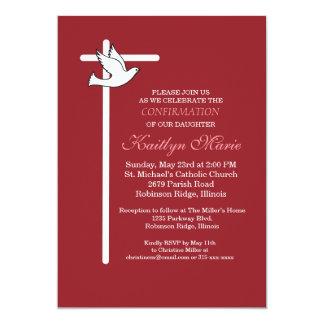Croix et colombe blanches d'invitation de carton d'invitation  12,7 cm x 17,78 cm