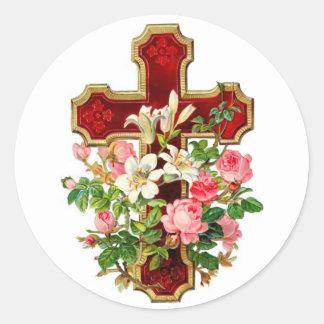 Croix florale sticker rond