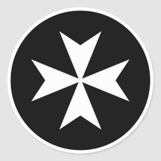 Croix maltaise blanche sticker rond