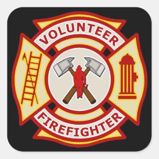 Croix maltaise de sapeur-pompier volontaire autocollants carrés