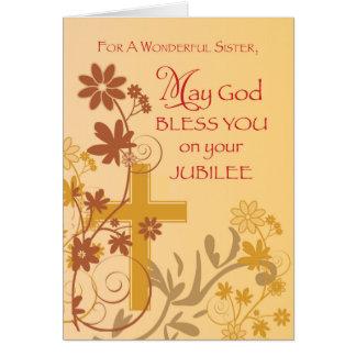 Croix, remous, fleurs et L de nonne d'anniversaire Carte De Vœux