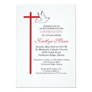 Croix-Rouge et colombe d'invitation de Carton D'invitation 12,7 Cm X 17,78 Cm