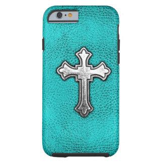 Croix turquoise en métal coque iPhone 6 tough