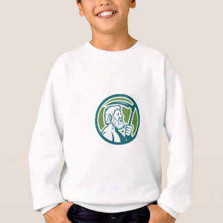 Cronus Holding Scythe Circle Retro Sweatshirt