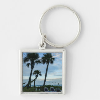 Crooked Palm Trees Silver-Colored Square Keychain