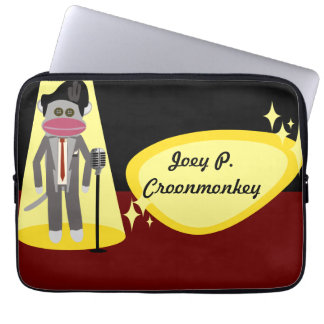Crooner Sock Monkey Deluxe Laptop Sleeve