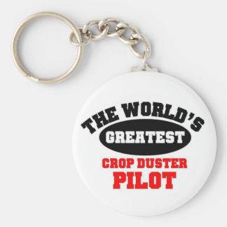 Crop Duster Pilot Basic Round Button Keychain