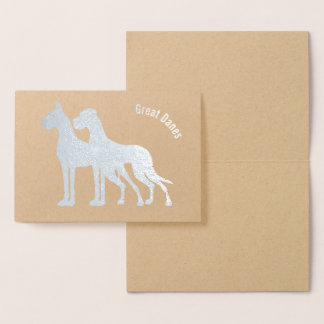 Cropped Uncropped silver foil Great Danes Cards
