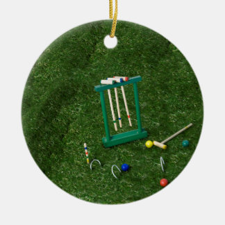 CroquetSetLawn011815.png Round Ceramic Ornament