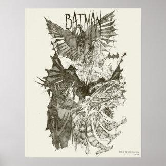 Croquis nouveau graphique de crayon de Batman Poster