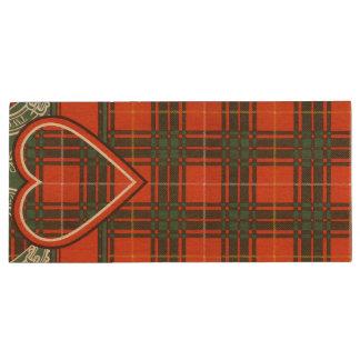 Crosby clan Plaid Scottish tartan Wood USB Flash Drive