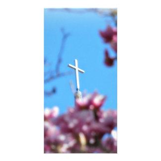 Cross among Tulip trees Photo Card Template
