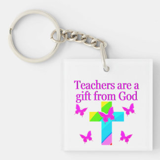 CROSS AND BUTTERFLY TEACHERS BLESSING DESIGN Double-Sided SQUARE ACRYLIC KEYCHAIN