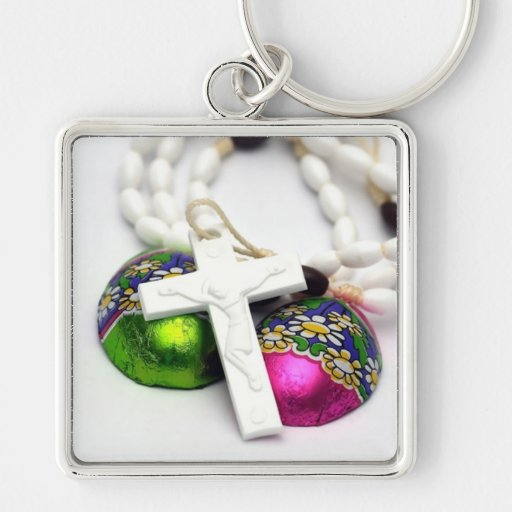 Cross and Colorful Easter Eggs Key Chains