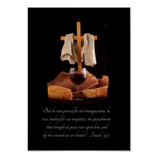 Cross and Communion Isaiah 53:5 Scripture Poster