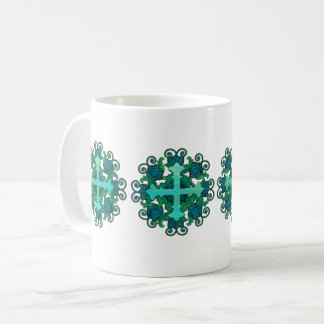 Cross and Floral Design on 11 oz Mug