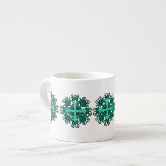 Cross and Floral Design on Espresso Mug
