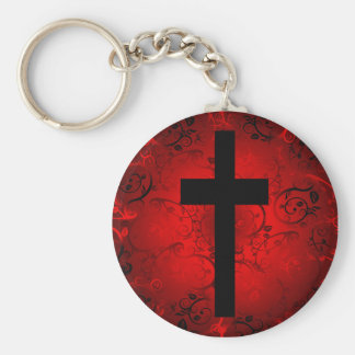 CROSS AND FLORAL RED PATTERN BASIC ROUND BUTTON KEYCHAIN