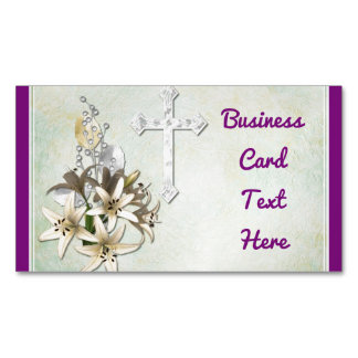Cross And Flowers Magnetic Business Card