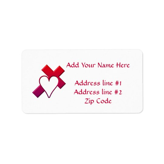 Cross and heart #1 ( 3-D Red / purple ) Label