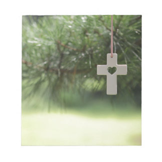 cross and heart notepad