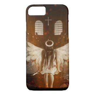 Cross and Mystical Angel Holding Knife iPhone 7 Case